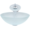 VIGO White Glass Vessel Bathroom Sink with Faucet (Drain Included)