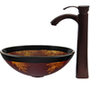 VIGO Glass Sink and Vessel Faucet Set Auburn/Mocha Glass Vessel Bathroom Sink with Faucet (Drain Included)