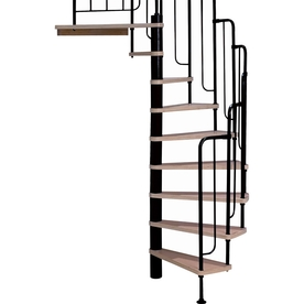 DOLLE Barcelona 25.75-in x 9.5-ft Black with Wood Treads Spiral Staircase Kit