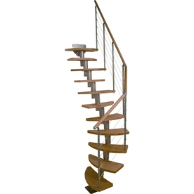 DOLLE Rome 25.25-in x 9-ft Grey with Wood Treads Modular Staircase Kit