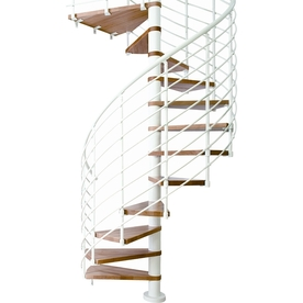 DOLLE Oslo 25.25-in x 11.5-ft White with Wood Treads Spiral Staircase Kit