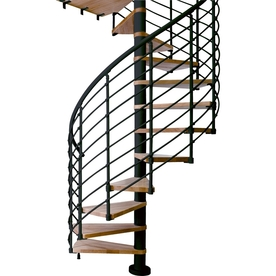DOLLE Oslo 55-in x 12.5-ft Black with Wood Treads Spiral Staircase Kit