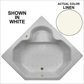 Watertech Whirlpool Baths 59.5-in L x 59.5-in W x 21-in H Linen Acrylic 2-Person Corner Drop-in Air Bath