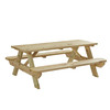 Garden Treasures 72-in Brown Southern Yellow Pine Rectangle Picnic Table