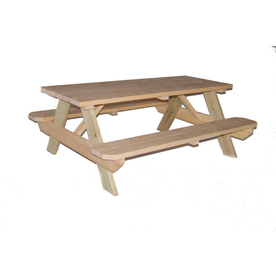 "Garden Treasures 72""L Natural Rectangular Picnic Table with Benches"