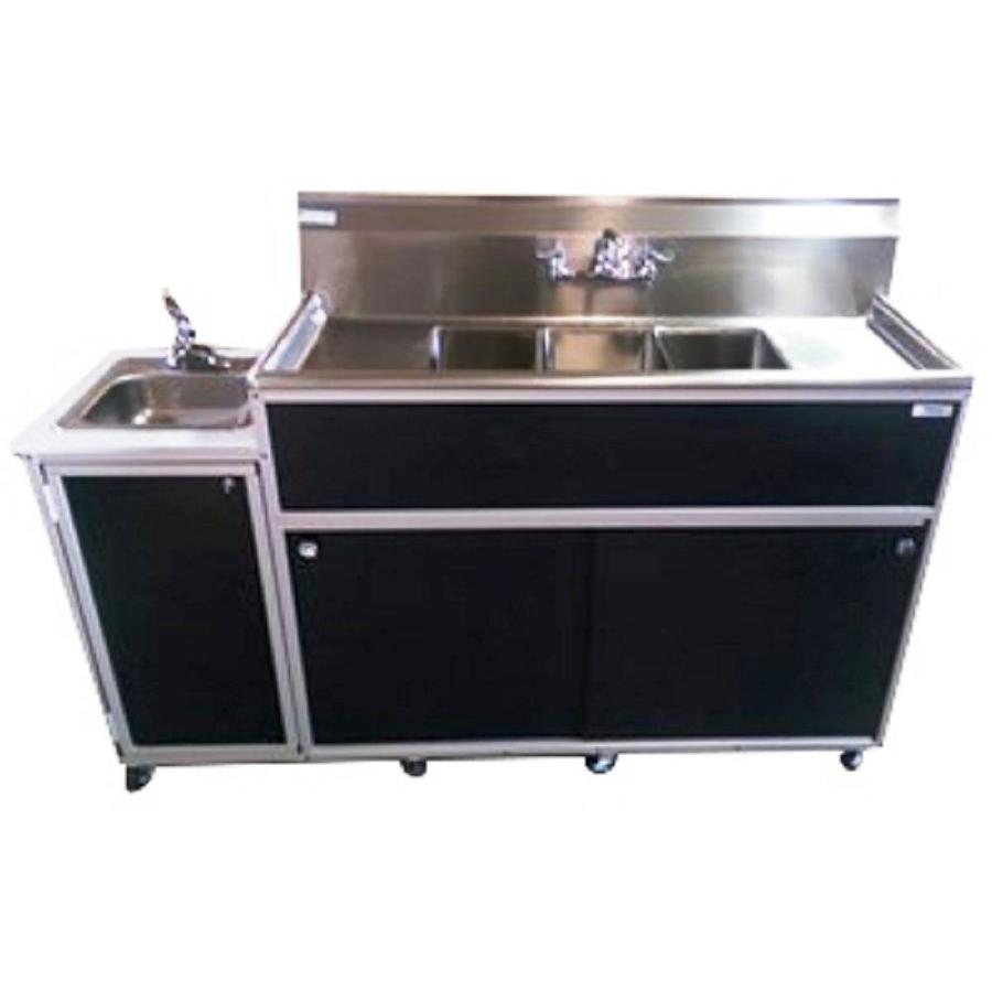 Black Stainless Sink : Shop MONSAM Black Quadruple-Basin Stainless Steel Portable Sink at ...