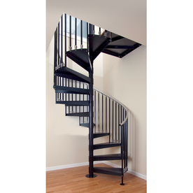 The Iron Shop Elk Grove 29-in x 10.25-ft Black Spiral Staircase Kit