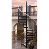 The Iron Shop 5-ft 6-in Houston Gray Baked Enamel Spiral Staircase Kit