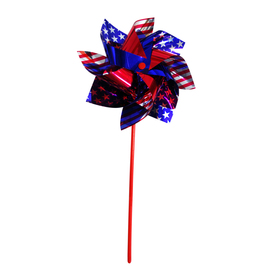 Independence Flag Red, Blue and Silver Plastic Holiday Wind Spinner