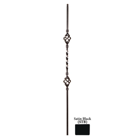House of Forgings Solid 44-in Satin Black Wrought Iron Twist Stair Baluster