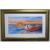 Alpine Art & Mirror Boat on Water by Judith Harris with a White Mat and Gold Frame