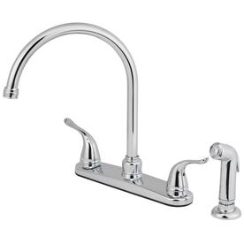 Shop Aquasource Chrome 2 Handle High Arc Kitchen Faucet With Side Spray At