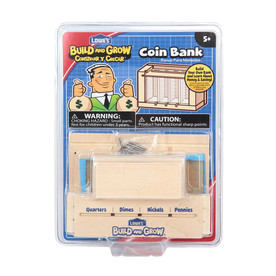 Build and Grow Kid's Beginner Woodworking Project Coin Bank Kit