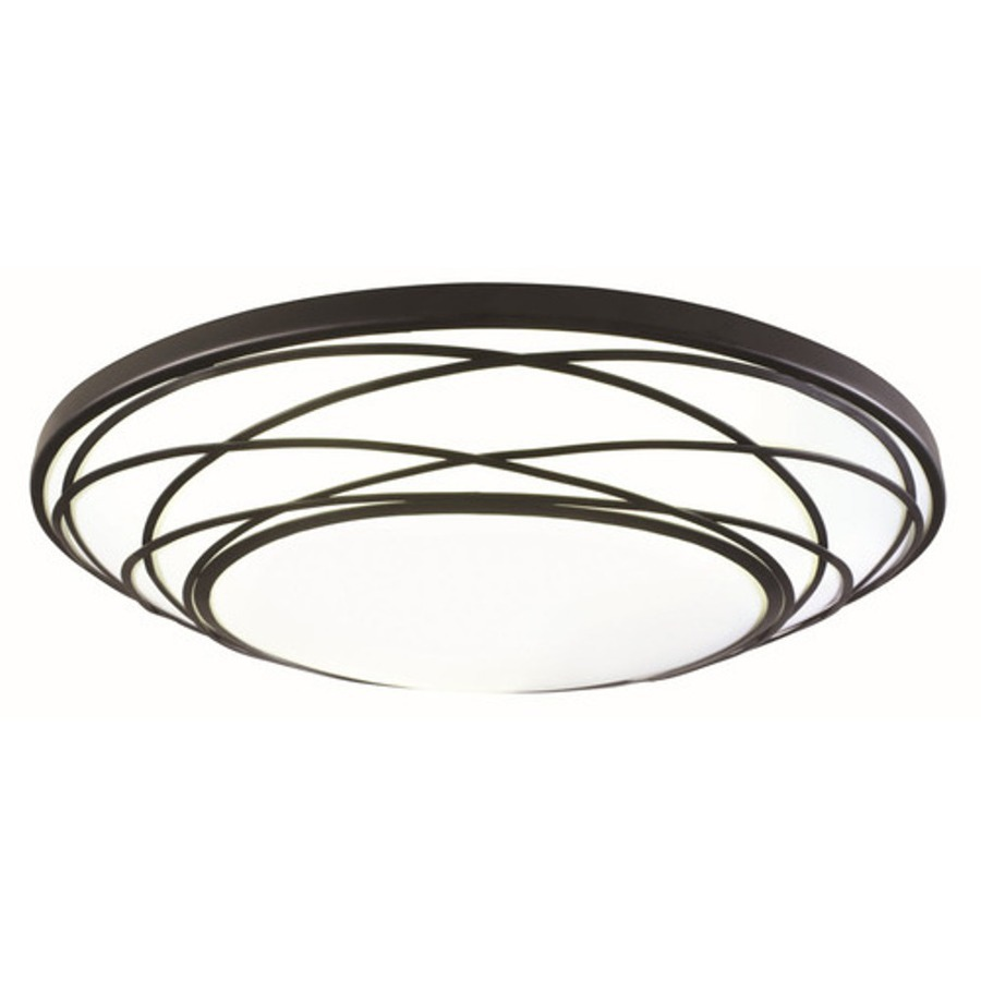 shop portfolio 19 in w black led ceiling flush mount at. Black Bedroom Furniture Sets. Home Design Ideas