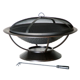 Garden Treasures 35-in Matte Black Steel Wood-Burning Fire Pit