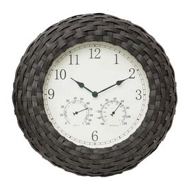 Garden Treasures Faux Wicker 3 -in-1 Clock/Thermometer/Hygrometer