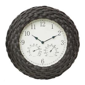 Shop garden treasures faux wicker 3 in 1 clock for Garden treasures pool clock