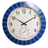Garden Treasures Indoor/Outdoor Hand-Painted Blue Tile Transitional Thermometer with Clock