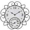 Garden Treasures Indoor/Outdoor Ivory and Rusty Steel Thermometer with Clock