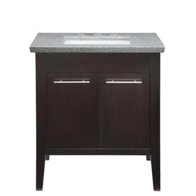 allen + roth Contemporary Espresso Undermount Single Sink Poplar Bathroom Vanity with Granite Top (Common: 30-in x 22-in; Actual: 30-in x 21-in)