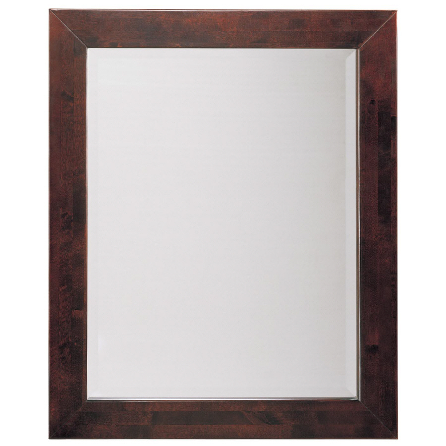 shop allen roth espresso rectangular bathroom mirror at