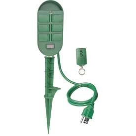 Utilitech 6-Outlet Outdoor Remote Control Yard Stake