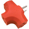 15-Amp 3-Wire Grounding Single-to-Triple Orange Basic Adapter