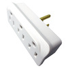 15-Amp 3-Wire Grounding Single-to-Triple White Basic Adapter