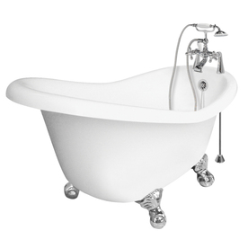 American Bath Factory 60-in x 32-1/2-in Ascot White Round Clawfoot Bathtub with Reversible Drain