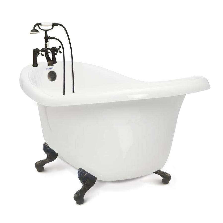 Shop American Bath Factory Chelsea White Acrylic Oval In Rectangle Clawfoot B