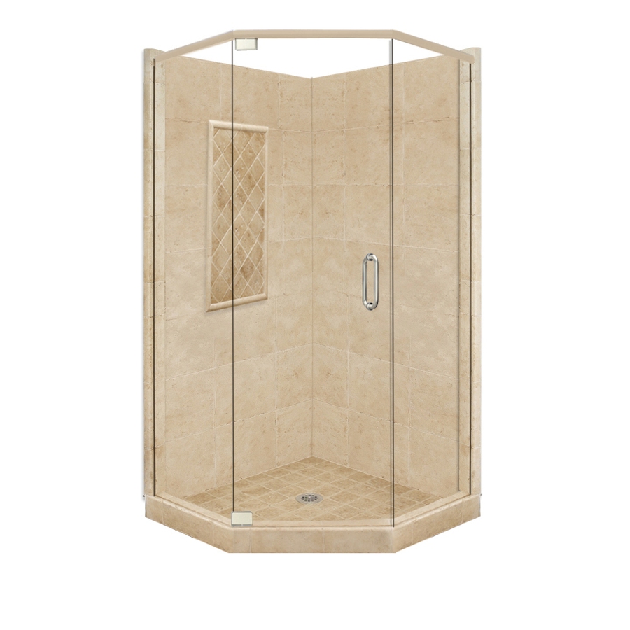 Shop American Bath Factory Panel Medium Fiberglass And Plastic Neo Angle Corner Shower Kit