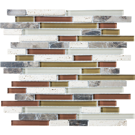 Cranberry Linear Mosaic Stone and Glass Travertine Wall Tile (Common: 12-in x 12-in; Actual: 11.92-in x 11.92-in)
