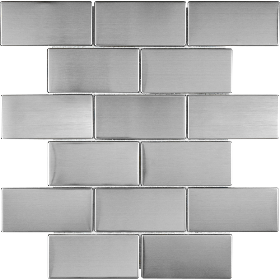 in x 6 in brushed stainless metal subway tile 8 pack 12 in