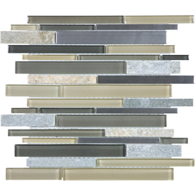 allen + roth Lakeshore Mixed Material (Stone/Glass/Metal) Mosaic Random Wall Tile (Common: 12-in x 12-in; Actual: 11.75-in x 11.93-in)