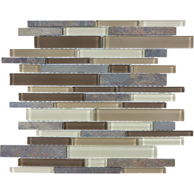 Anatolia Tile Rugged Trail Mosaic Stone and Glass Wall Tile (Common: 12-in x 12-in; Actual: 11.73-in x 11.81-in)