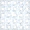 Anatolia Tile Carrara Pinwheel Marble Basketweave Mosaic Wall Tile (Common: 12-in x 12-in; Actual: 11.73-in x 11.73-in)