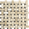 Anatolia Tile Pablo Travertine Honed Natural Stone Mosaic Basketweave Wall Tile (Common: 12-in x 12-in; Actual: 12-in x 12-in)
