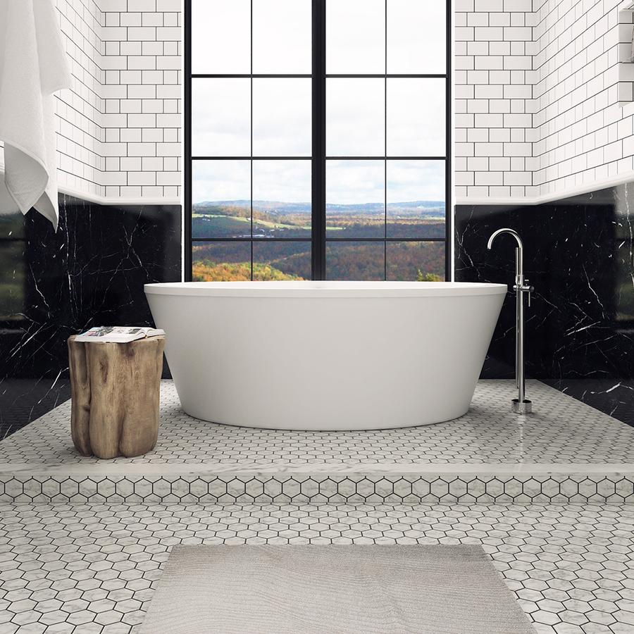 shop ove decors betsy gloss white acrylic oval freestanding bathtub