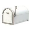 Architectural Mailboxes Coronado 10-in x 11.25-in Metal White with Antique Nickel Post Mount Mailbox