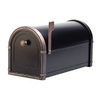 Architectural Mailboxes Coronado 10-in x 11.25-in Metal Black with Antique Copper Post Mount Mailbox