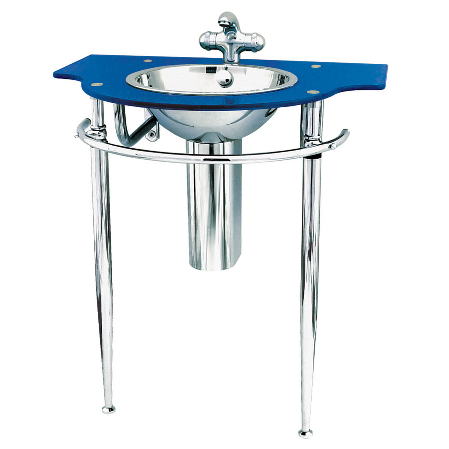 ... Wall Mounts Metallic Blue Glass Complete Pedestal Sink at Lowes.com