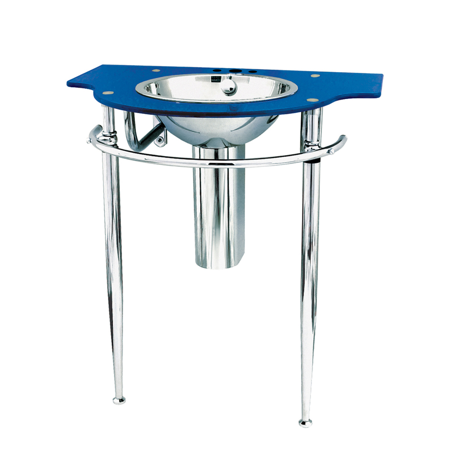 Wall Mounts 32.5-in H Metallic Blue Glass Complete Pedestal Sink ...