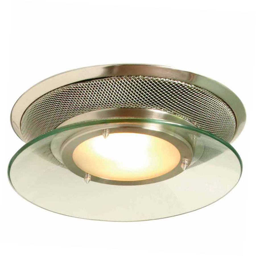 Shop allen roth 1 5 sones 90 cfm brushed stainless steel bathroom fan and light at for Stainless steel bathroom lights