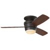 Harbor Breeze Mazon 44-in Bronze Flush Mount Indoor Ceiling Fan with Light Kit and Remote (3-Blade)