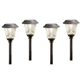 allen + roth 4-Pack Oil Rubbed Bronze Solar-Powered LED Path Lights