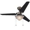 Harbor Breeze Impact 48-in Polished Pewter Downrod Mount Indoor Ceiling Fan with Light Kit (3-Blade)