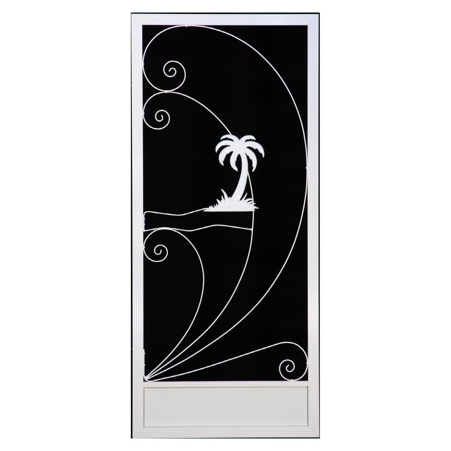 Shop suntech doors 36 white plantation palm tree aluminum for Metal screen doors