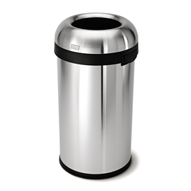 simplehuman 60-Liter Brushed Stainless Steel Bullet Open Trash Can