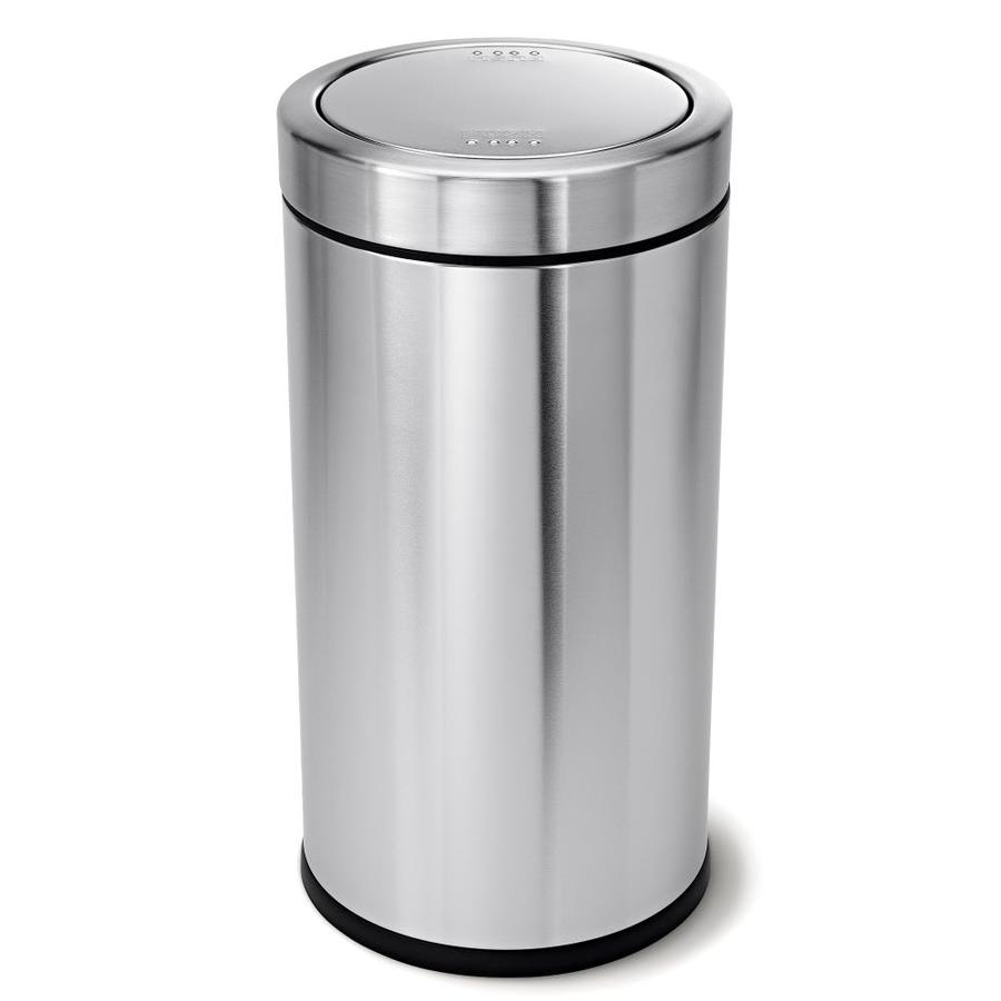 Shop simplehuman 55 liter s brushed stainless steel swing lid indoor garbage can at - Small trash can with lid ...
