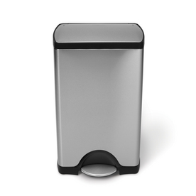 simplehuman Brushed Stainless Steel Wheeled Trash Can